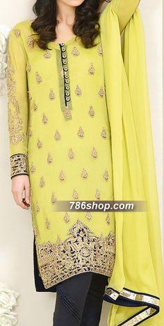 Lime Green Chiffon Suit | Buy Pakistani Indian Dresses