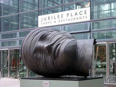Testa Addormentata (Sleeping Head) by Igor Mitoraj, Jubilee Place, Canary Wharf, London