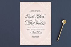 """Elegant Lace"" - Elegant, Classical Wedding Invitation Petite Cards in Blush by Hooray Creative."
