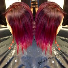 Red violet to magenta balayage ombre on short hair
