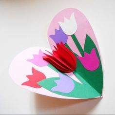 Tulip in a Heart Card Valentines Day Craft for Kids Kids Crafts, Mothers Day Crafts For Kids, Mothers Day Cards, Easter Crafts, Diy For Kids, Diy And Crafts, Arts And Crafts, Mother's Day Projects, Pop Up Cards