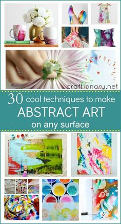 Ways to make abstract art on any surface includes easy ideas like marbling, nail polish, ice tie-dye, swirling and more to create artistic masterpieces.