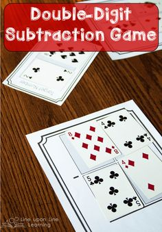 To get extra practice in double-digit subtraction beyond the worksheets, I decided we had shake things up a bit with a playing cards game!