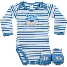 Body Bebê Menino Listrado com Sapatinho Azul - Best Club :: 764 Kids | Roupa bebê e infantil
