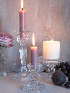 Vintage Glass Pillar Candle Holder - Nordic House