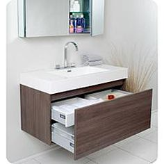 @Overstock - A soft grey finish highlights this Fresca Mezzo modern bathroom vanity. This single-sink vanity features a medicine cabinet and Fresca Sesia faucet.http://www.overstock.com/Home-Garden/Fresca-Mezzo-Gray-Oak-Bathroom-Vanity-with-Medicine-Cabinet/5522847/product.html?CID=214117 $1,199.00