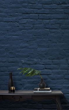 This collection of murals has been selected with the aim of creating modern spaces, adding texture and depth to the walls of a room, and bringing out the Brick Wallpaper Mural, Hallway Wallpaper, Navy Wallpaper, Textured Wallpaper, Painted Brick Walls, Brick Interior, Interior Design, Modern Hallway, Contemporary Wallpaper