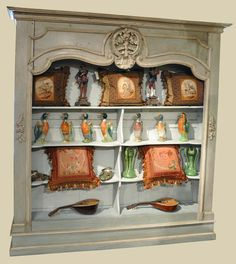 Large Painted Bookcase  -made from old elements-