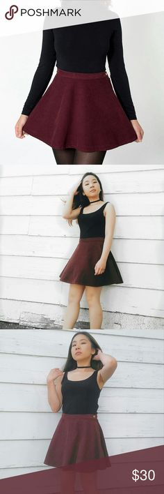 American Apparel Maroon Circle Skirt Cute maroon skater/circle skirt. Looks beautiful to dress up with heels or edgy with a pair of sneakers! I'm 4'11 and weigh 110 lbs. American Apparel Skirts Circle & Skater