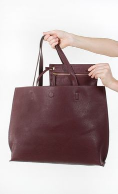 Downtown Babe Tote - Burgundy from Cheeky Peach Boutique