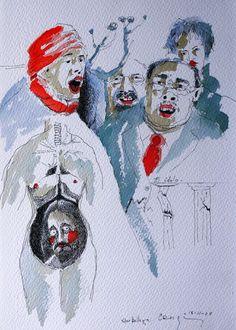 "Bernardo CRESPIN : ""Que belleza"" ; 18 Noviembre 2009 ; tinta y acuarela sobre papel ; colección MDAA (adquirido en Agosto 2012 del artista)"