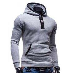 125d992114c9 Fashion Hooded Color Splicing Button Design Slimming Long Sleeve Cotton  Blend Hoodie For Men - Light