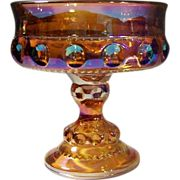 King's Crown Amber Carnival Glass Compote (or Candy)