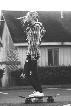 skater girl, converse, flannel