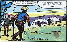 "Jean Giraud. A panel from Giraud's 1958 Western comic ""King of the Buffalo"", written by Noel Carré. It shows heavy inspiration from Jijé. - Wikipedia"