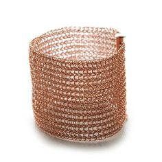 Rose gold cuff bracelet crocheted by YooLa
