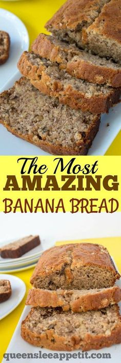 This is hands down the most AMAZING Banana Bread I've ever tasted! It's moist, fluffy and the addition of chopped walnuts give a nice crunch in each bite! Added 2 tablespoons of sour cream Köstliche Desserts, Delicious Desserts, Dessert Recipes, Yummy Food, Best Banana Bread, Banana Bread Recipes, Simple Banana Bread, Banana Bread Recipe Frozen Bananas, Banana Bread Sour Cream