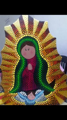 Virgen de Guadalupe en puntillismo by Carolina VP Dot Art Painting, Mandala Painting, Painting On Wood, Mandala Canvas, Mandala Dots, Catholic Art, Religious Art, Virgin Mary Art, Mosaic Crosses