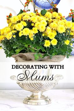 Ideas for decorating with mums, adding them to your fall decor and how to arrange them.