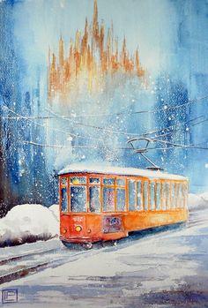 """"""" il 23 e la neve """" acquerello di Lorenza Pasquali 35x51 N.D."""