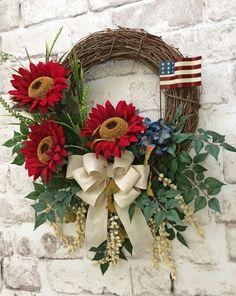 Red Sunflower Wreath Patriotic Wreath Summer by AdorabellaWreaths