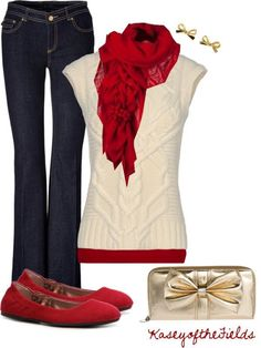 Cream Top & Red Scarf Outfit.