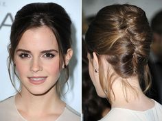 Emma Watson looks gorgeous with this perfectly tousled French twist!