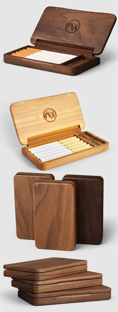 Black walnut Wooden Cigarette Case maybe for paint brushes? Woodworking Jigs, Woodworking Projects, Wooden Crafts, Diy And Crafts, Small Wood Projects, Cigarette Case, Cigarette Holder, Diy Holz, Wood Gifts