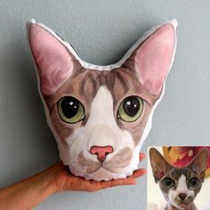 Gifts For Pet Lovers, Cat Gifts, Cat Lovers, Cat Pillow, Sphynx Cat, Fabric Painting, Cat Lady, Pet Portraits, Your Pet
