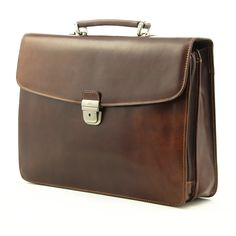 Tony Perotti Mens Italian Bull Leather Massimo Bellini Double Compartment Leather Laptop Briefcase in Brown Vintage Leather Messenger Bag, Leather Bags Handmade, Laptop Briefcase, Cool Backpacks, Bellini, Italian Leather, Satchel, Men Wear, Briefcases