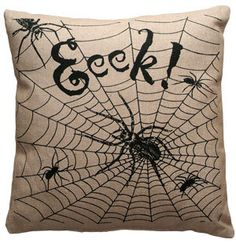 Eeek Halloween Burlap Pillow. $25.00, via Etsy.