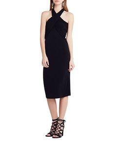 Bcbgeneration Draped Overlay Dress Women's Black Large