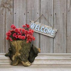 Amazon.com : Design House 332304 Bear in Stump 9-in Planter Indoor/Outdoor, Multicolor : Garden & Outdoor
