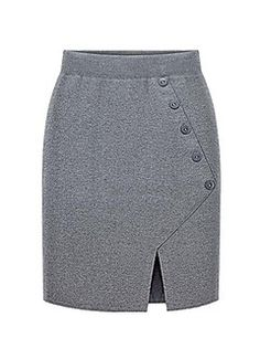 Women's+Solid+Black+/+Gray+Skirts,Street+chic+Knee-length+–+CAD+$+18.06
