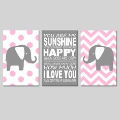 Sunshine Elephant Nursery Art Trio  Set of Three 13x19 by Tessyla, $69.50 if it came in black instead of grey and both backgrounds were chevron it'd be perfect