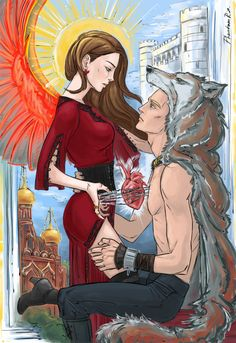 "by phantomrin.tumblr.com (""Six of Crows"" by Leigh Bardugo) Nina & Matthias - little red bird & big grey wolf"