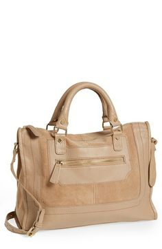 { leather & suede satchel }