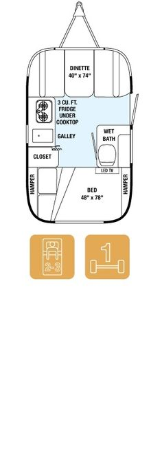 "Airstream 16' Sport Bambi Floor Plan and Specs: 16' 4"" long  x  8' wide x 9'3"" high"