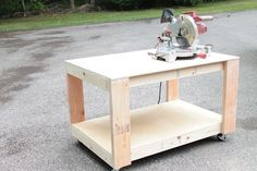 This workbench is an easy build, but makes for a super sturdy and sleek styled basic workbench! Build more than one for a modular system of benches that can be customized to fit your needs, and rolled wherever needed!