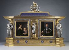 Ludwig Grüner (1801-1882) - Jewel-cabinet - c, 1851,  Oak, electro-formed and silver-plated white metal, enamelled copper, porcelain. Displayed in the Main Corridor of the Great Exhibition, 1851. Commissioned by Prince Albert for Queen Victoria.