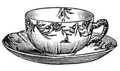 Images - Vintage Floral Tasses à thé noir et blanc