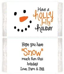 Christmas Holiday Snowman Face Microwave Popcorn Label.  A unique party favor for winter holiday parties.