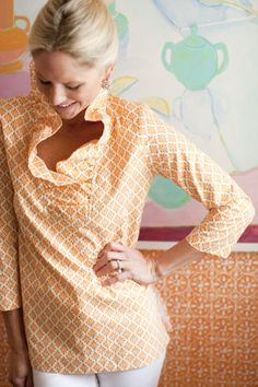 Stitch Fix: love the ruffle collar. Maryland Pink and Green: Top 5 Tunics for Summer