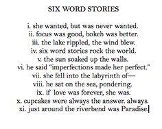 Six Word Stories - Cupcake Dictionary