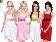 Teen Dress with Flower Printed Belt by Lillka - Sims 3 Downloads CC Caboodle