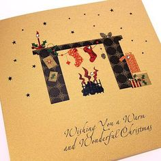 Handmade Christmas Card - Fireplace and Logs - 'Wishing you a Warm and Wonderful Christmas/Grandma and Grandad' http://www.thehandcraftedcardcompany.co.uk/cardcrafts/7468-winter-glitter-christmas-cards.asp?refid=9145