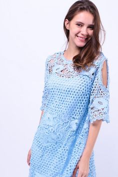 Two Piece Cut-Out Shoulder Crochet Dress (Blue) S$ 56.00