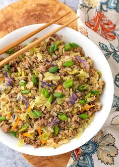 Instant Pot Egg Roll in a Bowl is a delicious low carb one pot recipe. A simple meat & cabbage dish with a nice Asian flavored sauce. Also called Crack Slaw Ceviche, Quesadillas, Wok, Tortillas, Nachos, Enchiladas, Vegetarian Egg Rolls, Pork Egg Rolls, Eggroll In A Bowl
