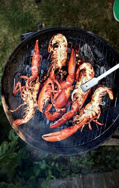 Cooking lobster entirely on the grill ensures that no water gets inside the shell, which means you& get more concentrated lobster flavor. Barbecue Recipes, Grilling Recipes, Fish Recipes, Seafood Recipes, Cooking Recipes, Grilled Lobster Recipes, Lobster Dishes, Fish Dishes, Seafood Dishes