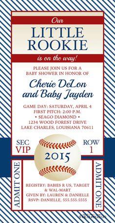 vintage baseball baby shower invitation little rookie baby boy pinstripe ticket style